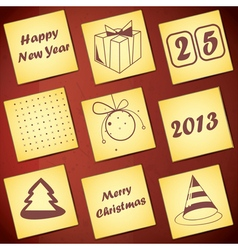 Set of nine new year and merry christmas card vector