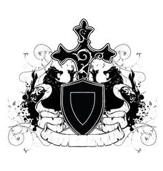 Vintage emblem with shield vector