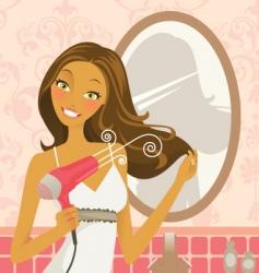 Hairdryer woman vector