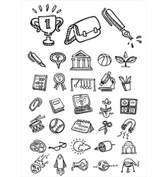 Doodle school and college icons vector