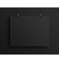 Black blank horizontal sheet of paper mock vector
