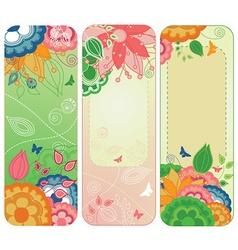 Sweet floral banners or bookmarks vector