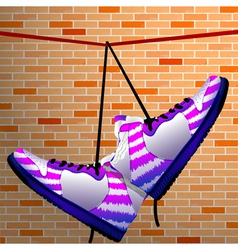 Hanging shoes vector