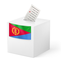 Ballot box with voting paper eritrea vector