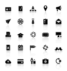 Contact connection icons with reflect on white vector