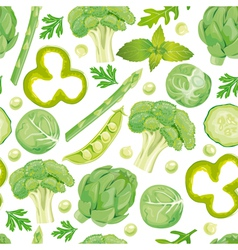 Seamless pattern of green vegetables vector