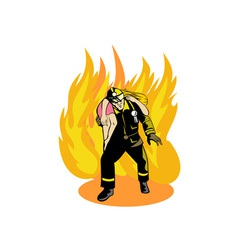 Fireman fire fighter saving girl vector