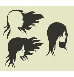 Womens hairstyle with her head vector