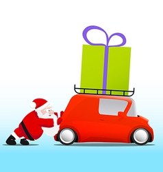 Santa pushing a red mini car with a gift box vector