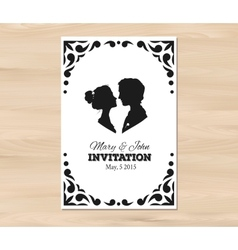 Wedding invitation with profile silhouettes vector