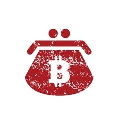 Bitcoin purse red grunge icon vector