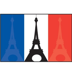 French flag and eiffel vector