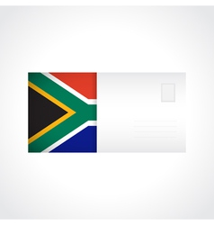 Envelope with flag of south africa card vector