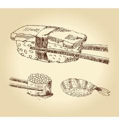Set of hand drawn sushi vector