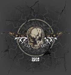 Cracked skull and emblem vector