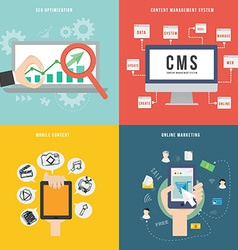 Element of seo cms mobile and marketing concept vector
