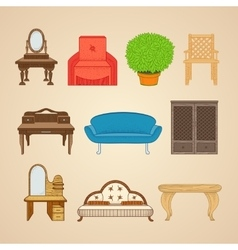 Set of ten furniture vector