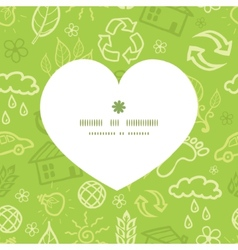Environmental heart silhouette pattern frame vector