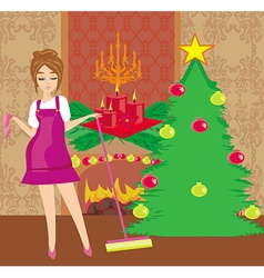 Housewife cleaning house before christmas vector