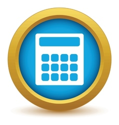 Gold calculator icon vector