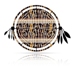 Abstract tambourine in ethnic style with shadow vector