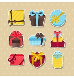 Celebration sticker icon set of colorful gift vector