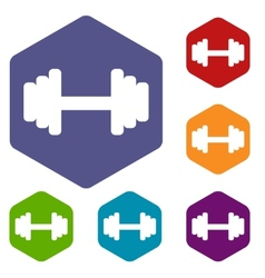 Barbell rhombus icons vector