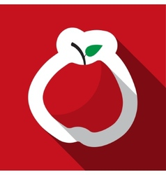 Red apple and long shadow vector