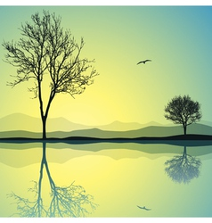 Lake landscape vector