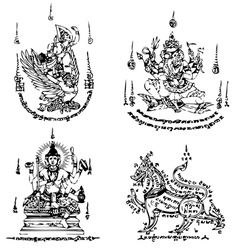 Thai tattoo ancient template vector