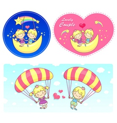 The fun a balloon and moon on girls and boys vector
