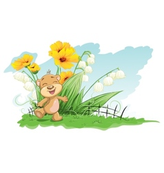 Cheerful bear with lilies and flowers vector