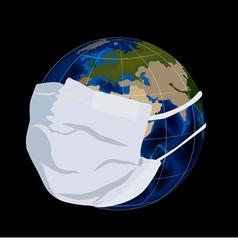 Globe in medical mask vector