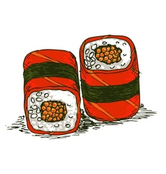 Tasty rolls with caviar vector
