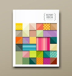 Annual report colorful pattern fabrics square vector