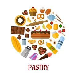 Pastry flat icons vector