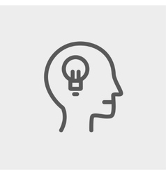 Human head with idea thin line icon vector