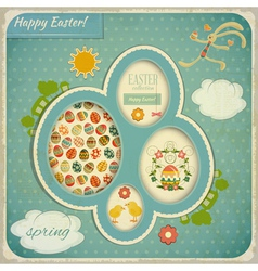Retro vintage card with easter set vector