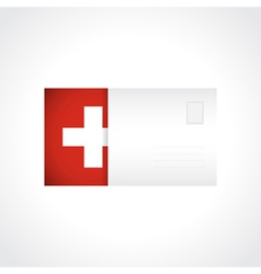 Envelope with swiss flag card vector