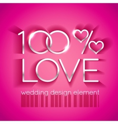 Bright pink wedding design element vector