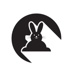Black icon with easter bunny and stylized shadow vector