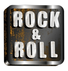 Rock and roll metal inscription vector