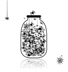 Spiders in jar for your design vector
