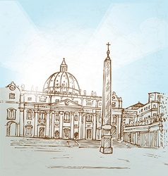 Vatican city background hand draw vector