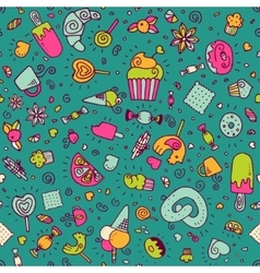 Seamless pattern with desserts vector