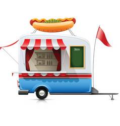 Fast food hot dog trailer vector