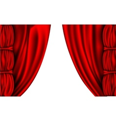 Shiny red silk curtains with columns vector