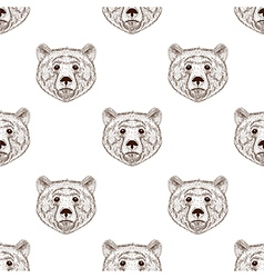 Sketch realistic face brown bear seamless pattern vector