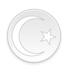 Star and crescent button vector