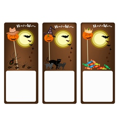 Set of three banners of halloween night vector